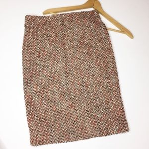 J.Crew boucle pencil skirt pinks and browns wool 4